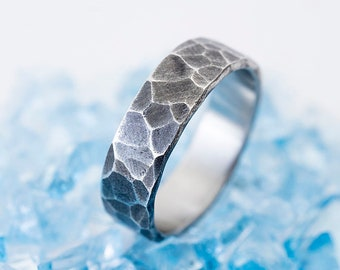 Hammered Wedding Band - Mens Engagement Ring - Handmade Steel Ring for Man or Woman - Custom Personalized Ring Male Female - Natura