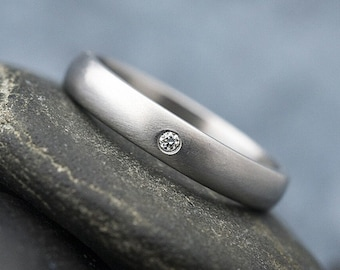 DIAMOND Wedding Ring - Simple Plain Ring for Woman - Female Engagement Ring - Personalized HANDMADE Stainless Steel Ring for Her - Prima