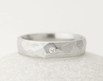 Diamond Engagement Ring - Womens Proposal Ring - Handmade Customized Damascus Ring, Female Wedding Band, Mens engagement ring - Rocksteel
