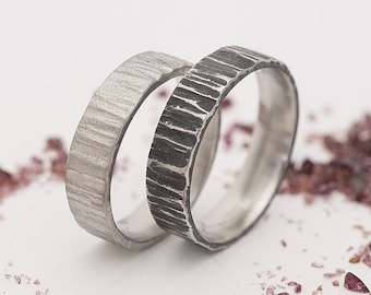 Bark Steel WEDDING band - Handmade - Hammered Wedding ring set, Womens or Mens wedding band, Mens engagement band, Male wedding ring - Wood