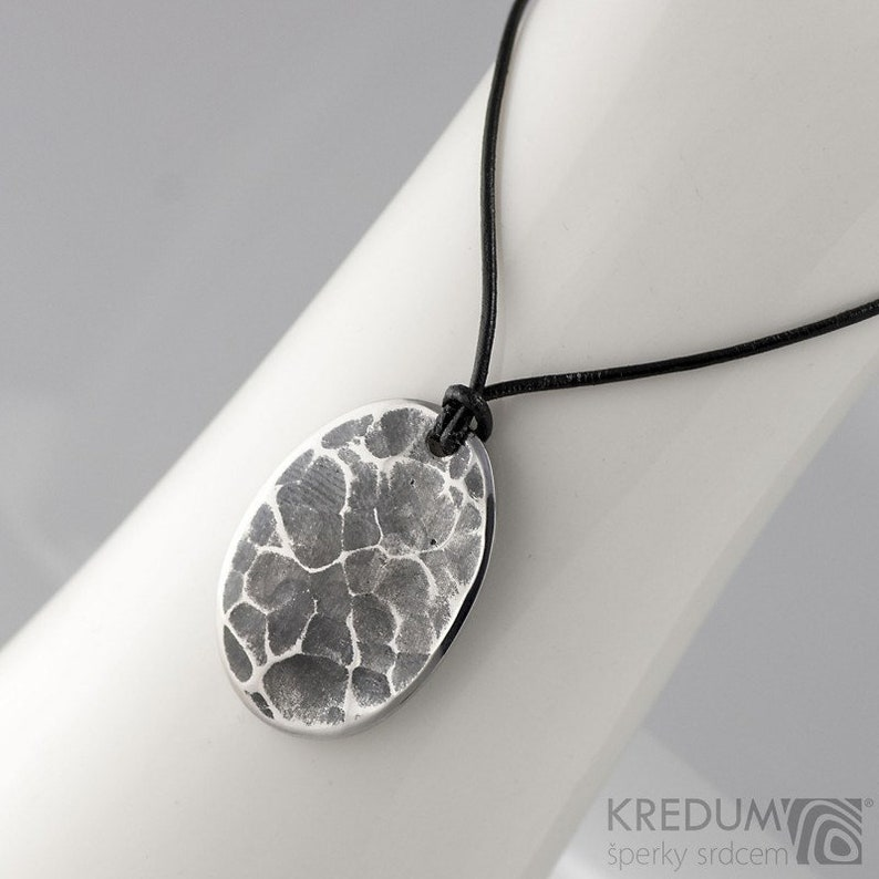 for man woman gift for her for him hand forged charm amulet HAMMERED Steel Medallion Draill stainless steel oval male necklace pendant
