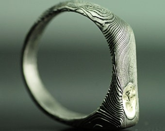 """Custom mens Ring, Mens jewelry, Ring for him - Hand forged stainless damascus steel ring """"Omar"""""""