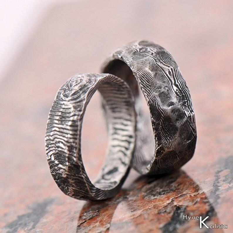 cbcb19842 Custom Wedding Ring Stainless Damascus steel Mens ring   Etsy