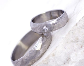 """Custom Wedding Ring, Engagement band, diamond jewelry - Hand forged stainless damascus steel ring - """"Rocksteel"""" with diamond 1.7mm"""