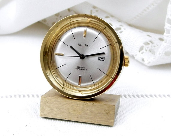 """Rare Vintage Quality Miniature 17 Jewel """"Relay"""" Working Mid Century French Mechanical Wind Up Alarm Clock, Small Retro Time Piece France"""