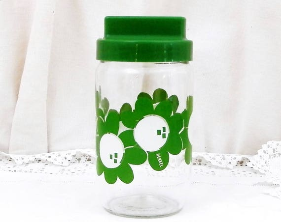 Vintage French Airtight Henkel Glass Storage Jar with Green Flower Design, 1960S Vintage Kitchen Decor, Retro Kitchenalia from France