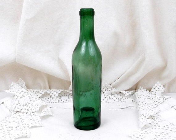 Small Antique French Hand Blown Glass Half Wine Bottle, Farm Country Cottage Kitchen Decor, Bouteille Demi Fillette Brocante from France