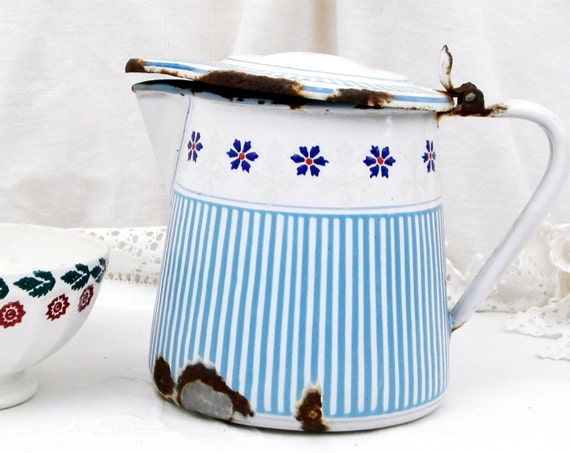 Antique French Blue Chippy Patterned Enamelware Pitcher, Country Farmhouse Cottage Kitchen Enamel Jug Pale Blue and Flower Pattern France