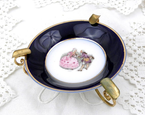 """Vintage Metal and Bone China """"Porcelain de Limoges""""  Baroque Style Ashtray, Chateau Shabby Chic Decor from France, Retro Ceramic Ash Tray"""