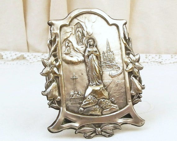 Antique Repousse Embossed Silver Plated Image of Virgin Mary with Lourdes Basilica  Framed with Lillis, Our Lady Catholic Religious Picture