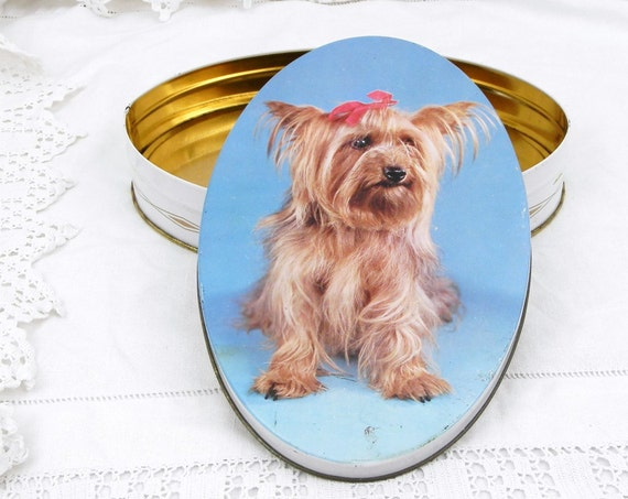 Vintage French Metal Candy Tin with a Silky Terrier, 1960s Dog Owner Home Decor Gift, 60s Brocante Flea Market Interior Decorating France