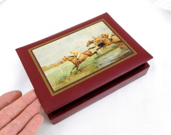 """Vintage French Leather Cigarette / Cigar Box Depicting an Equestrian Scene by """"La Setia Regie Française"""", Collectible Tobacciana, Gift Horse"""