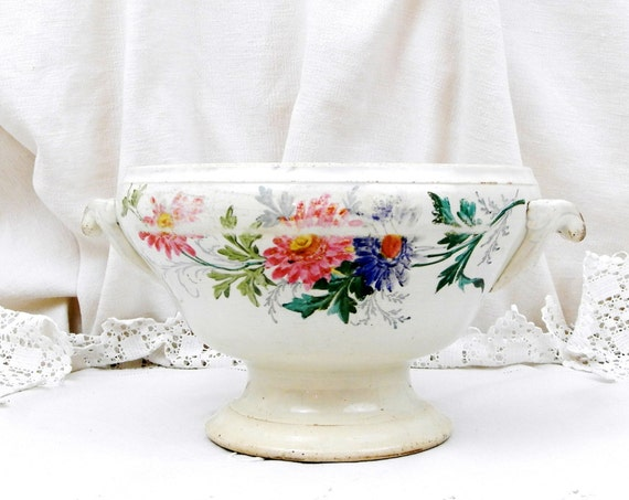 Antique French Hand Painted Flower Pattern Ceramic Pottery Soup Serving Bowl Saint Amand Des Eaux, Country Chateau Chic Decor from France
