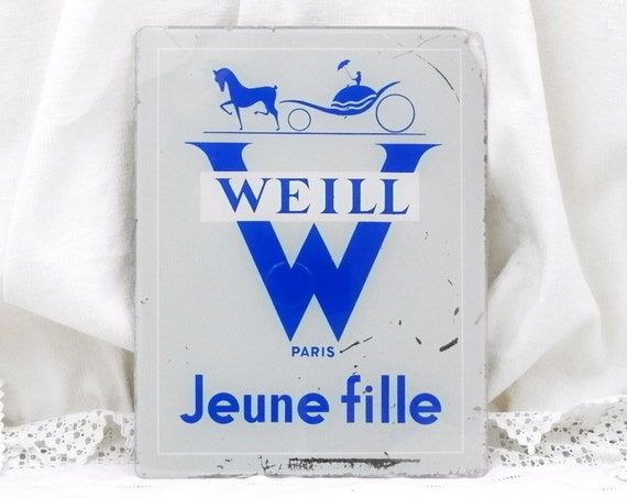 Vintage French Mid Century 1950s  Shop Advertising Glass Wall Plaque Weill Jeune Fille Paris 50s Clothing Commercial Store Sign from France