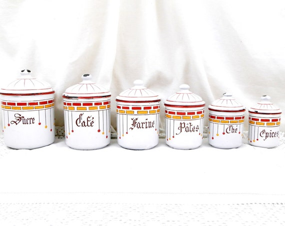 Rare Antique 6 Piece Set French White Red and Yellow Art Nouveau Enamelware Canister Set, Enamel Country Farmhouse Kitchen Decor from France