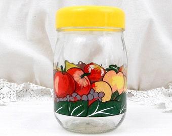 Pot de stockage Vintage Français hermétique Le Parfait avec rétro imprimé fruits et couvercle jaune, 1 L 1960 maison rétro intérieur ustensiles de cuisine