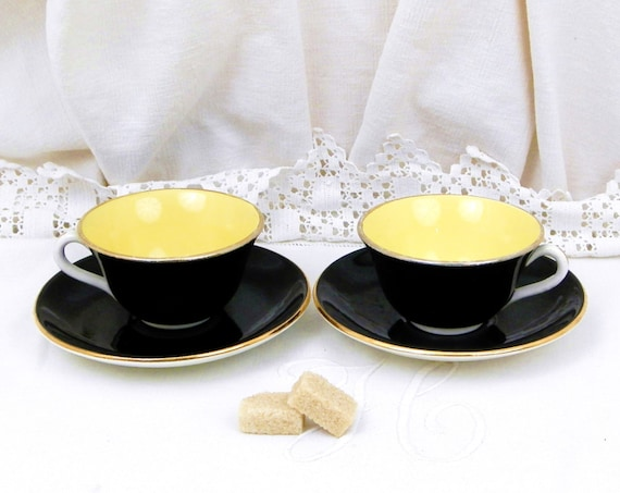 2 Vintage Mid Century French Digoin Black, Yellow and Gold Espresso Cup and Saucer, Matching Coffee / Tea Cups from France, Chateau Brocante