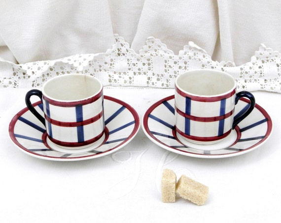 2 Antique French Espresso Cup and Saucer, Matching Pair 1920s China Coffee / Tea Cups and Saucers from France , Red White and Blue Ceramic