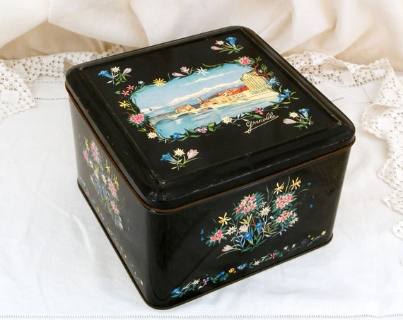 Large Vintage French Metal Tin with Floral Pattern and Illustration of the Town of Grenoble, Retro Black Box with Flower Pattern from France