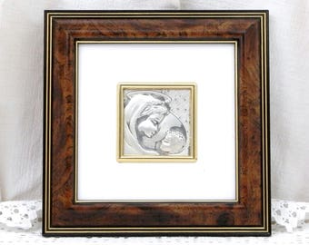 Vintage Sterling Silver Framed Embossed Repoussé Picture of the Virgin Mary and Child Made in Italy by Valentina, Religious Icon in Silver