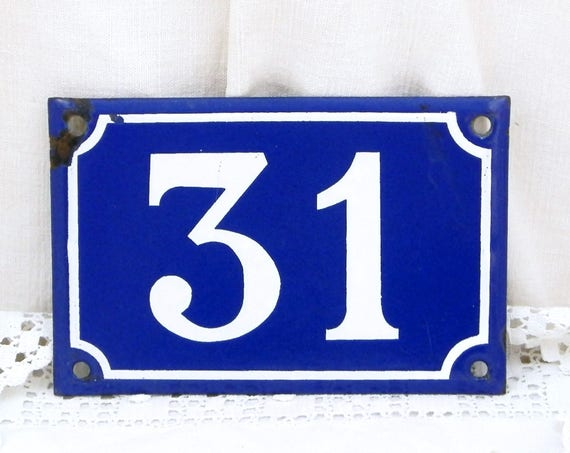 Vintage Traditional French Porcelain House Number Plate Number 31 in Dark Blue with White Colored Numbers / Enamel Plaque, Address Signs