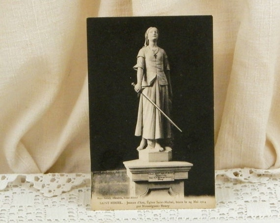 Antique French Black and White Postcard Jeanne D'Arc Statue in Paris, Vintage Shabby Parisian Brocante Decor France, Joan of Arc Sculpture