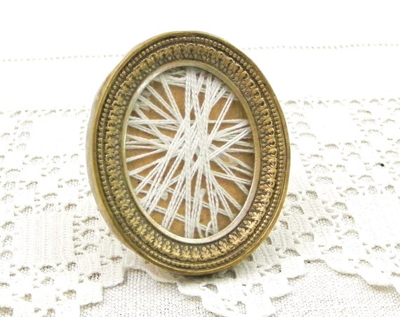 Small Antique Early 19 th Century French Silver Plated Brass Metal Portrait Oval Frame, 1800s Tiny Old Photo Frame from France, Vintage Home