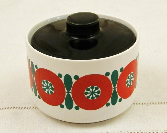 Vintage 1960s German Melitta Ceramic White Sugar Bowl with a Red and Green Pattern and Black Lid, Retro 60s European Pottery