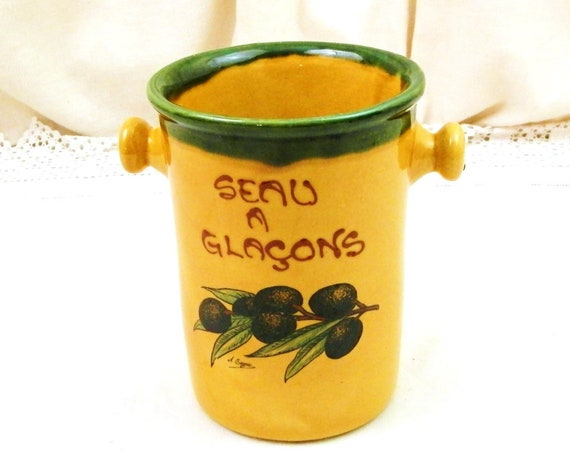 Vintage French Provencal Yellow and Green Ceramic Ice Cube Bucket with Olive Fruit Pattern, Retro Drinks Party Pottery Accessory from France