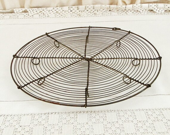Large Antique French Metal Wire Ware Round Cake Cooling Rack, Retro Bakeware from France, Country Farmhouse Cottage Kitchen Decor