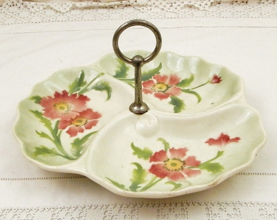 Antique French 1920s Ceramic Compartment Dish With Metal Carrying Handle and Flower Pattern, Retro Divided Biscuit Tray from France