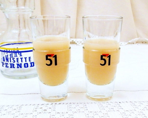 2 Vintage French Pastis 51 Glasses, Pair French Aperitif Glasses, Pernod Ricard Drinks Glass, Traditional Provencal Drinksware from France