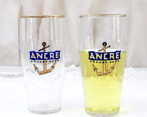 "2 Vintage French Beer Glasses ""Ancre Export Beer"" From Alsace in Eastern France, Pair of 0.25 cl Glasses with Gold Rim and Anchor Motif"