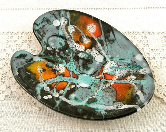 Vintage French Mid Century 1960s Ceramic Vallauris Artists Palette Trinket Dish, Retro 60s Pottery Ring Bowl from France with Splatter Glaze