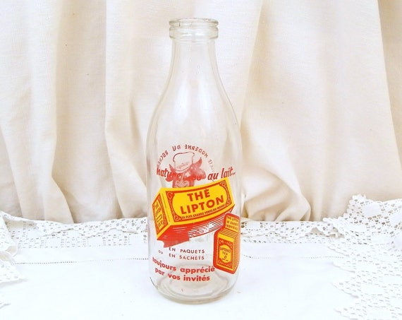Vintage 1950s French Milk Bottle from a Dairy near Le Mans Advertising Lipton Tea in Orange and Red 1 L, 1960 Retro Kitchen, Cow And Yogurt