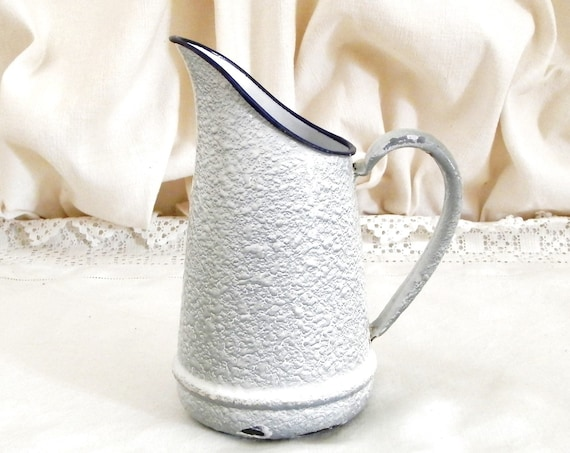Small Antique French White and Gray Mottled and Textured Water Pitcher, Enamelware Jug from France, Brocante Vintage Chateau Chic Decor