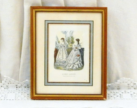 """Antique French Framed Colored Engraving Picture from """" La Mode Illustrée"""" in Gold Gilt Frame, Retro Victorian Era Fashion, Napoleaon 3 Dress"""