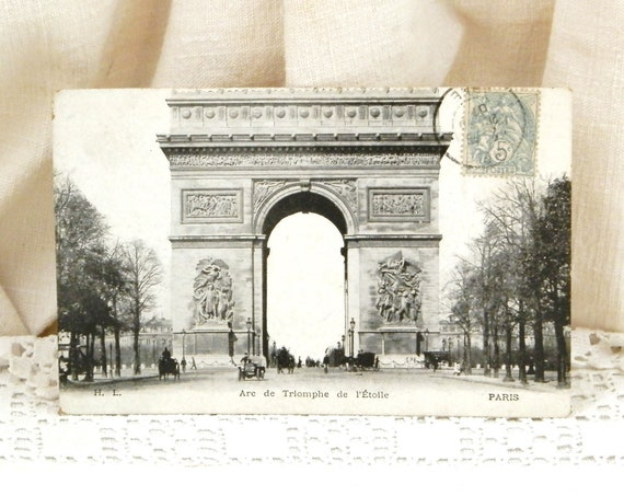 Antique French Black and White Postcard Arc de Triomphe Famous Monument in Paris Posted in 1901 with Early Car, Parisian Brocante Decor