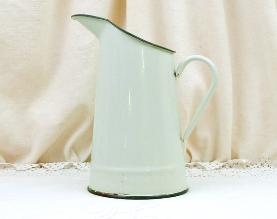 Antique French Pale Mint Green Enameled Water Pitcher, Retro Enamelware Country Decor Accessory from France, Vintage Flower Jug Vase