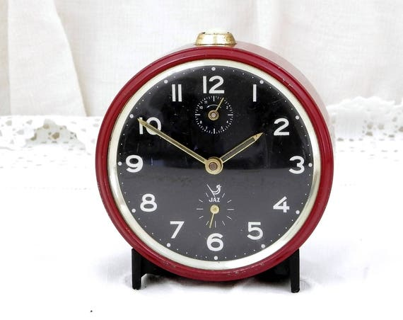 Working Vintage Mid Century French Red / Maroon Mechanical Jaz Alarm Clock, European Wind Up Clock, Retro Vintage Home Interior from France