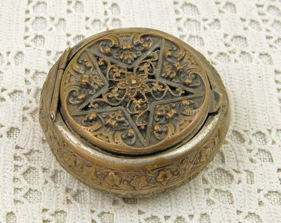 Antique French Silver and Gold Plated Pill Box with 5 Point Star Filigree Lid, Small Decorative Victorian Pocket Container from France