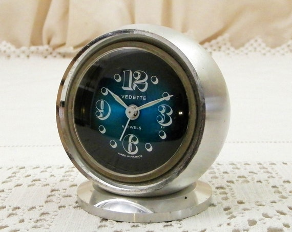 Vintage 1960s Mid Century Modern French 4 Jewel Mechanical Alarm Clock by Vedette with Blue Metallic Face and Machined Brushed Steel Body