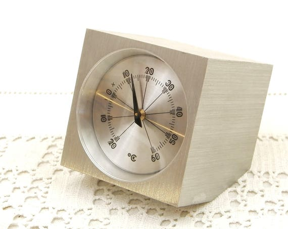 Vintage Mid Century Thermometer Mounted in a Machined Block of Solid Metal Used in a Laboratory Gradients  Celsius, Retro Temperature