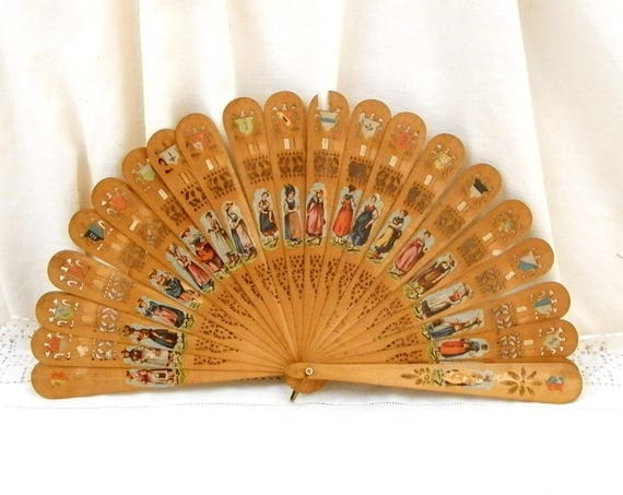 Rare Antique Swiss Wooden Sycamore Fretwork Fan with Switzerland's Town / Regions Coats of Arm / Crest / Blazon and Women in Regional Dress