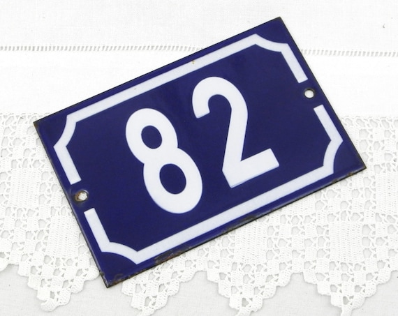 Vintage Traditional French Blue and White Metal Number Plaque 82, Vintage Porcelain House Street Enameled Address sign