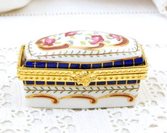 Small Vintage French Hand Painted Porcelain Pill Box with Floral Pattern, Tiny Hinged Rectangular Ceramic / China and Metal Box from France