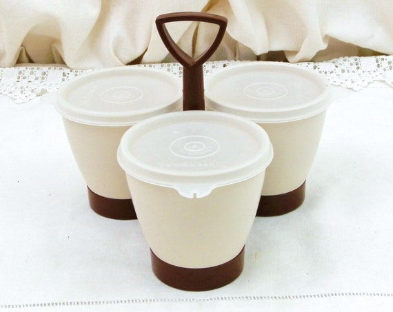 Vintage 1960s Mid Century Beige and Brown Tupperware Condiment Canister Set, Retro 3 Piece Lidded Melamine Serving Caddy Made in France