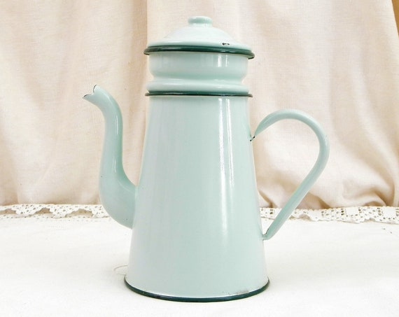 Antique French Mint Green Porcelain Enamel Goose Neck Coffee Pot, Retro Enamelware Cafetiere from France, Vintage Country Kitchen Decor