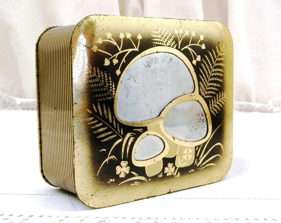 Vintage Mid Century Metal Tin with Inlaid Mushroom Pattern in Bronze, Gold and Silver Colors, French Decorative Metal Box and Fungi Motifs