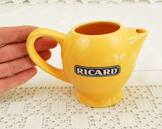 Small Vintage French Ceramic Promotional Ricard Water Pitcher in Yellow and Blue, Tiny Retro Provencal Pastis Jug from France, Bistro Decor